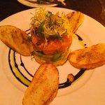 Salmon tartare. So fresh that u want more. Mango, avocado & Salmon. 3 layers that provides an ex