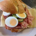 Italian sandwich ham and cheese with lettuce