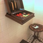 Sarkis Cornor in E&O, Shoes shining equipments in men's room