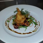 Coconut and beer batterd tiger prawns with a salt roasted beetroot carpachio, dressed with seasa