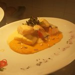Seafood selection with pumpkin puree and Lavender