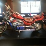 motorcycle in hotel bar