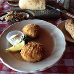 Crab cakes and the yummy home baked bread.