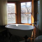 Just love the deep tub in the bathroom. Great view!