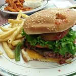 """""""Deluxe"""" burger with Canadian bacon, green peppers and terrible fries"""