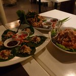 Crab on betel leaves, crablets & that fruit like grapefruit with prawns only it was chicken!