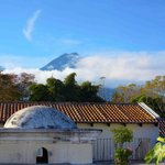 View of Volcan Agua from the rooftop terrace