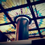 Beautiful stained glass ceiling in brewery.
