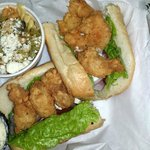 Carry out...big ol shrimps on the poboy with a side of pasta salad