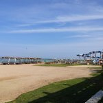 the beach and one of the aqua parks