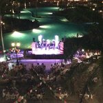 view from our balcony of band performing
