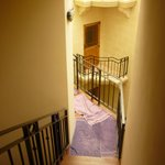Towels on the stairs and landing area.