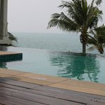 View of private infinity pool overlooking beach