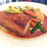 Slow roasted Pork Belly with chorizo mash potato!You will know what crispy means after having it