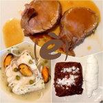 Solomillo de cerdo, merluza y torrija