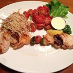 Skewered seafood combination: fish, scallop, shrimp