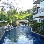 Hotel swimming pool.