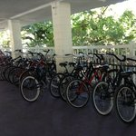 I think you can rent bikes - they are in the covered parking area
