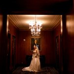 My bride at the private elevator lobby of the Waldorf Towers section of the hotel