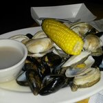 Steamers and mussels, plus the sausage....somewhere