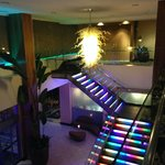 Lighted stairway in lobby