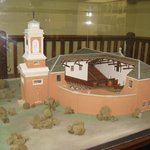 model of the original design, in one of the converted courtrooms