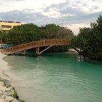 Bridge over river to lagoon