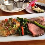 Mac Nut crusted daily catch, Prime rib (roasted for 24 hours) Kale Salad, The Lahaina Fish Co.