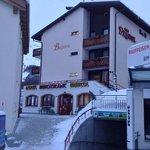 Next to the ski rental shop