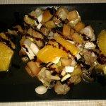 Ensalada de bacalao con tomate y naranja