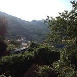 Вид из окна на сад и горы