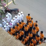 Morning school assembly, flag raising and singing of National Anthem