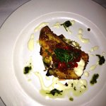 Pan seared red grouper on artichoke/sun dried tomato frittata