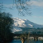 Ben Ledi and the Red Bridge in the snow