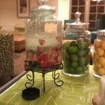 Strawberry water in hotel lobby