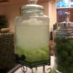 Honeydew melon water in hotel lobby