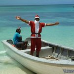 Santa driven into the bay by his reindeer