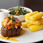 Our signature Surf N Turf featuring Irish Hereford Prime Aged Steak