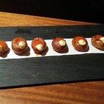 Bravas served on a board. So yum!!!!