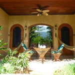 Relfection of Arenal in the glass- from our spa tub