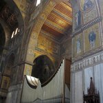 The organ and mosaics inside Monreale Cathedral