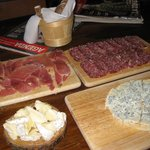 Selection of cheeses & meats to snack on