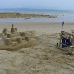 sand castel and pirate hut