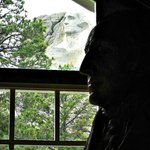 George Washington scale model looks out the window at George on the mountain