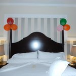 room decorated by staff for husband's birthday