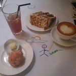 Tiramisu, scones, cappuccino, ice lemon tea and my drawing art ;P