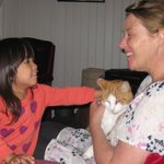 Our girl with Chester the cat and our lovely host Kate