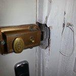 One of the unworking locks on the room door