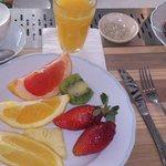 fruit for breakfast..fresh cappuccino and orange juice!