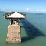 View of the rest of 7 Mile Bridge through the fence at Pigeon Key.